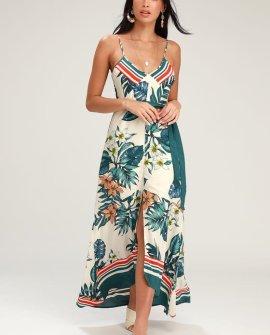 Getaway Beige Floral Print Maxi Dress