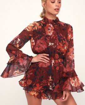 Getting All Your Love Wine Red Floral Print Long Sleeve Romper