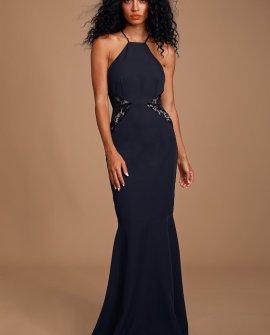 Giavanna Navy Blue Lace Mermaid Maxi Dress