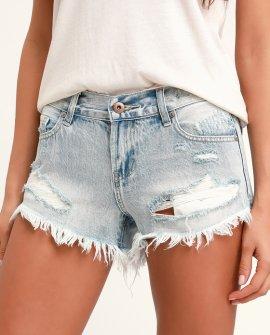 Gigi Light Wash Distressed Denim Cutoff Shorts