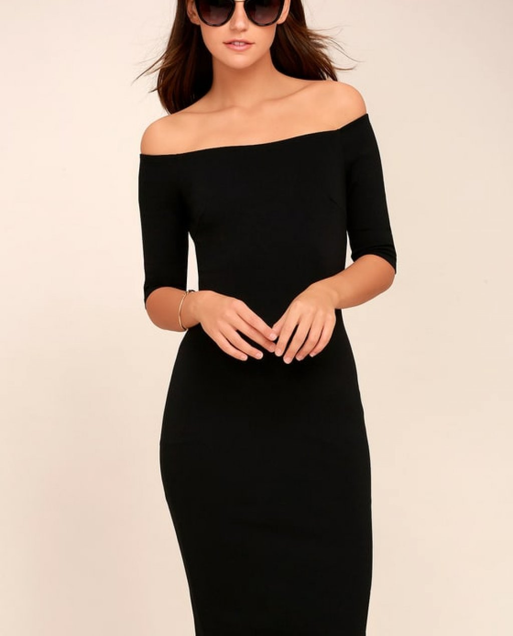 Girl Cant Help It Black Off-the-Shoulder Midi Dress