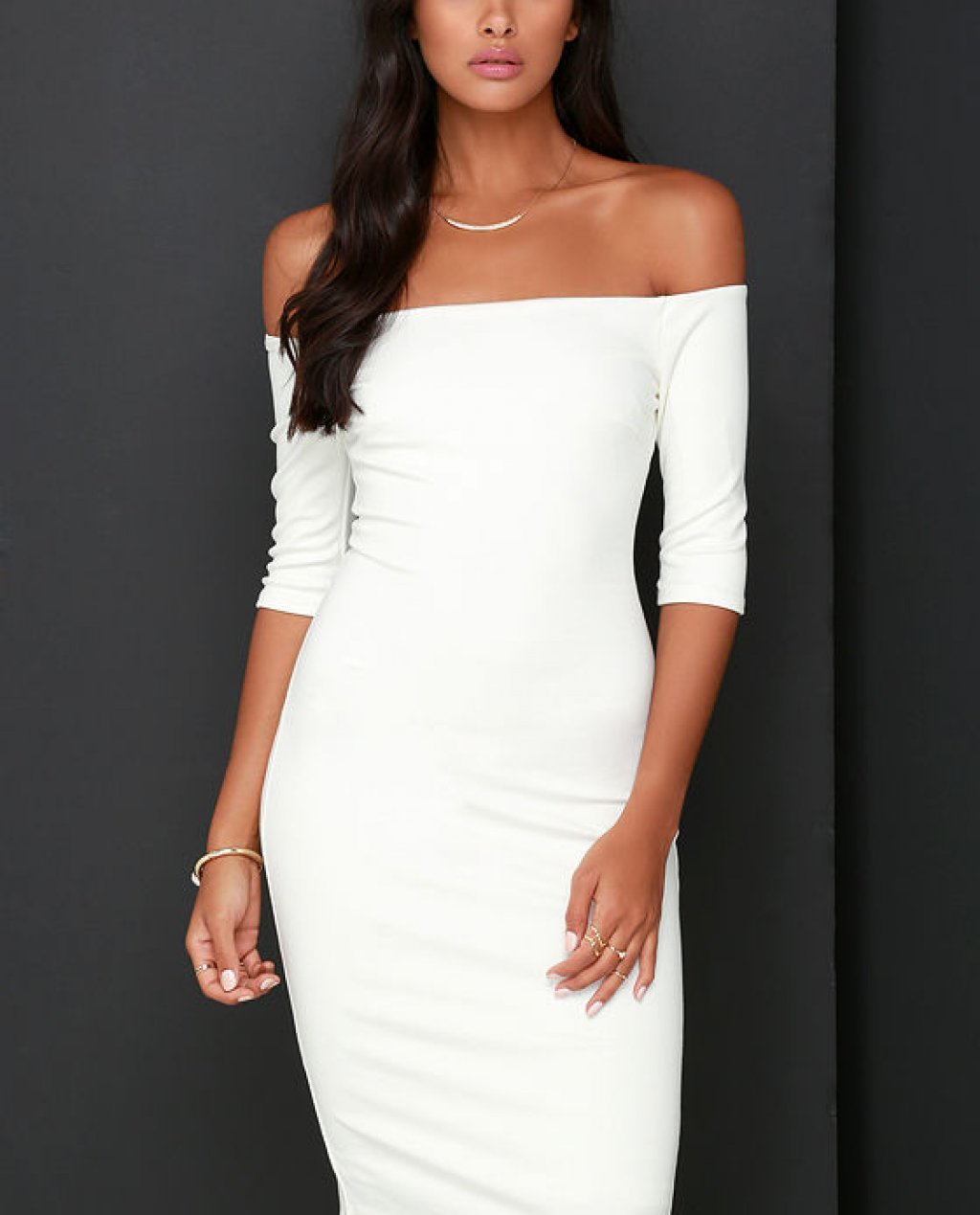 Girl Cant Help It Ivory Off-the-Shoulder Midi Dress