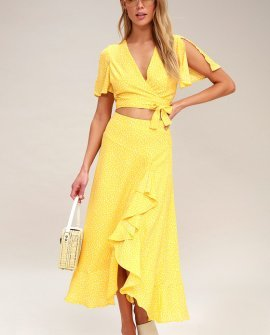 Girl Like You Yellow Polka Dot Two-Piece Maxi Dress