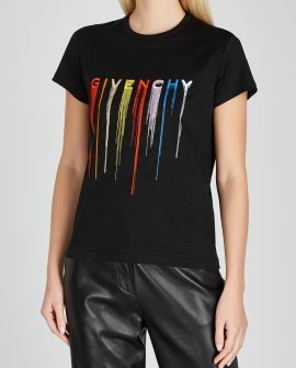 Givenchy Black logo-embroidered cotton T-shirt