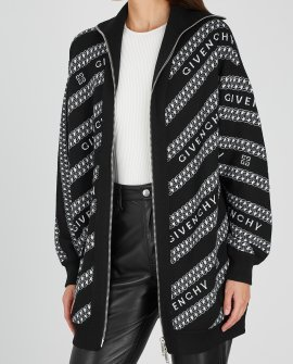 Givenchy Black logo-jacquard wool cardigan