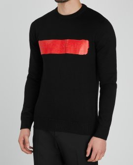 Givenchy Black logo-print wool jumper