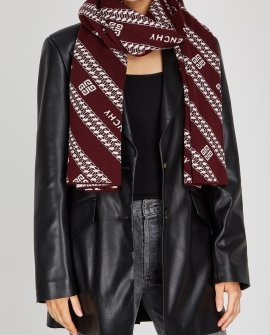 Givenchy Burgundy logo wool scarf