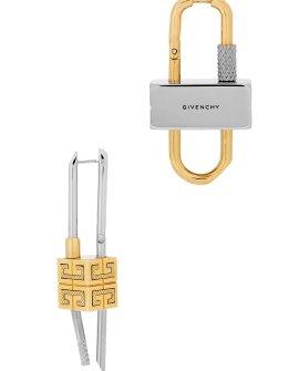 Givenchy Lock two-tone asymmetric drop earrings
