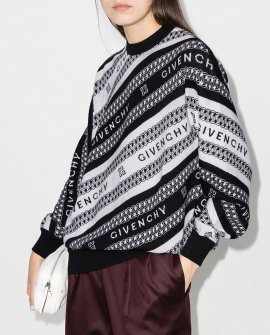 Givenchy jacquard stripe logo wool jumper