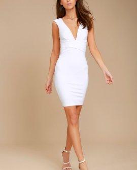 Glam Affair White Bodycon Dress