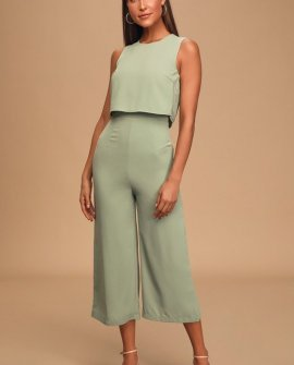 Glam-bition Sage Green Backless Midi Jumpsuit