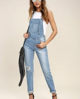 Glamorous Dolores Park Light Wash Distressed Denim Overalls