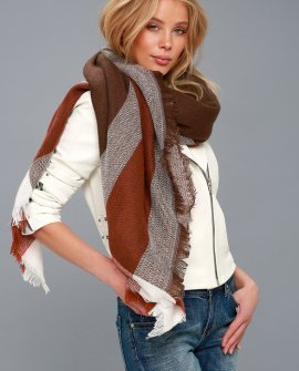 Glampfire Burgundy and White Plaid Scarf