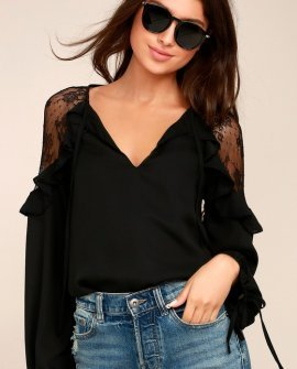 Glorious Day Black Lace Long Sleeve Top