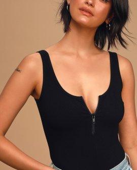Going All Night Black Ribbed Sleeveless Zip-Front Bodysuit