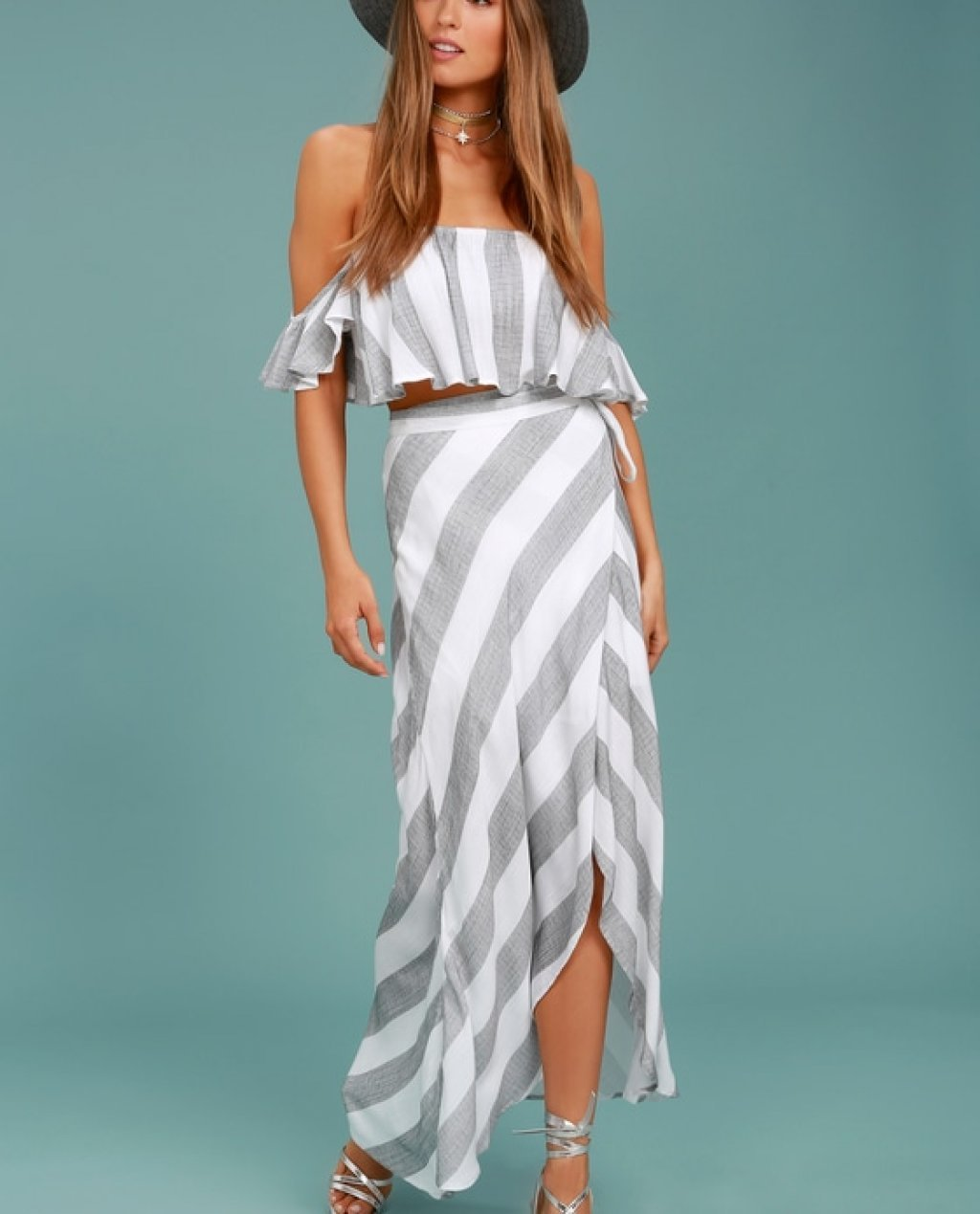 Golden Sunset Grey and White Striped Wrap Maxi Skirt