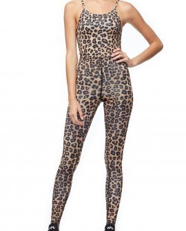 Full-body leopard jumpsuit