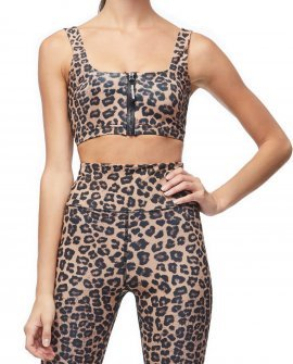 Leopard Zip-Up Sports Bra
