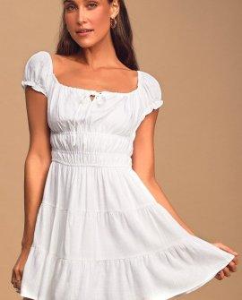 Good As New White Cap Sleeve Tiered Mini Dress