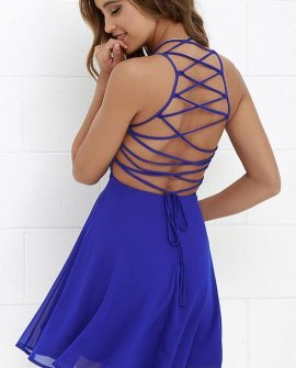 Good Deeds Royal Blue Lace-Up Dress