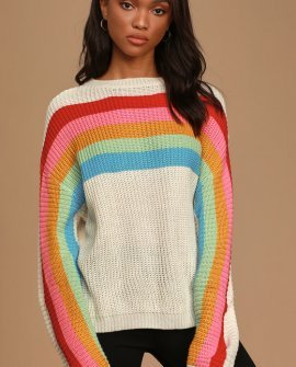 Good Luck To You Cream Rainbow Striped Sweater