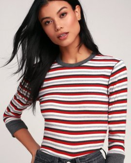 Good on You Red Multi Striped Three-Quarter Sleeve Tee