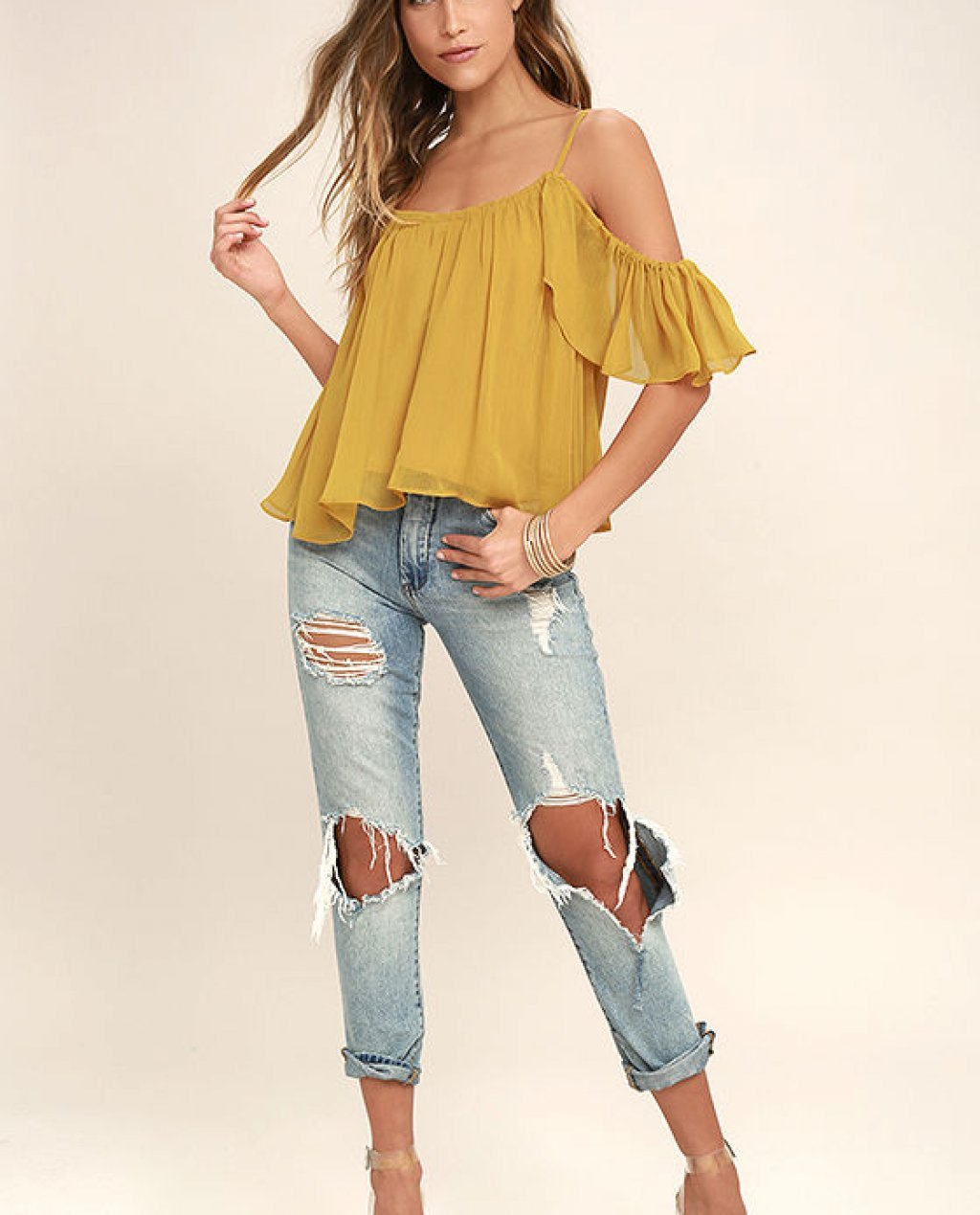 Got Me Moving Golden Yellow Off-the-Shoulder Top