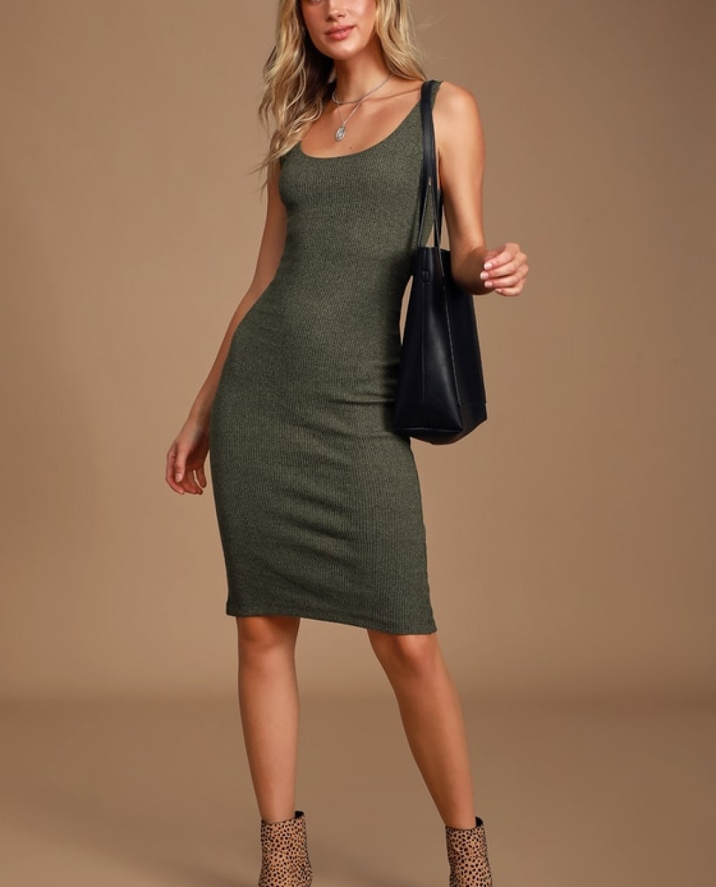 Gotta Flaunt It Heather Olive Green Ribbed Bodycon Midi Dress