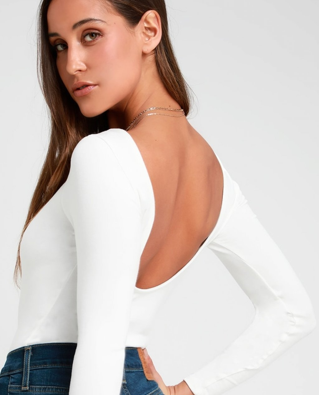 Graciously Yours White Long Sleeve Scoop Back Bodysuit