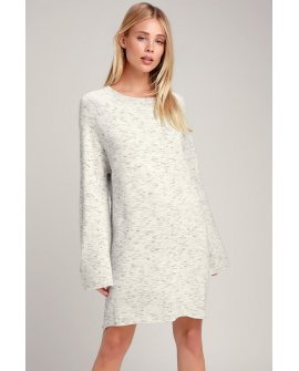 Grafton Heather Grey Bell Sleeve Sweater Dress