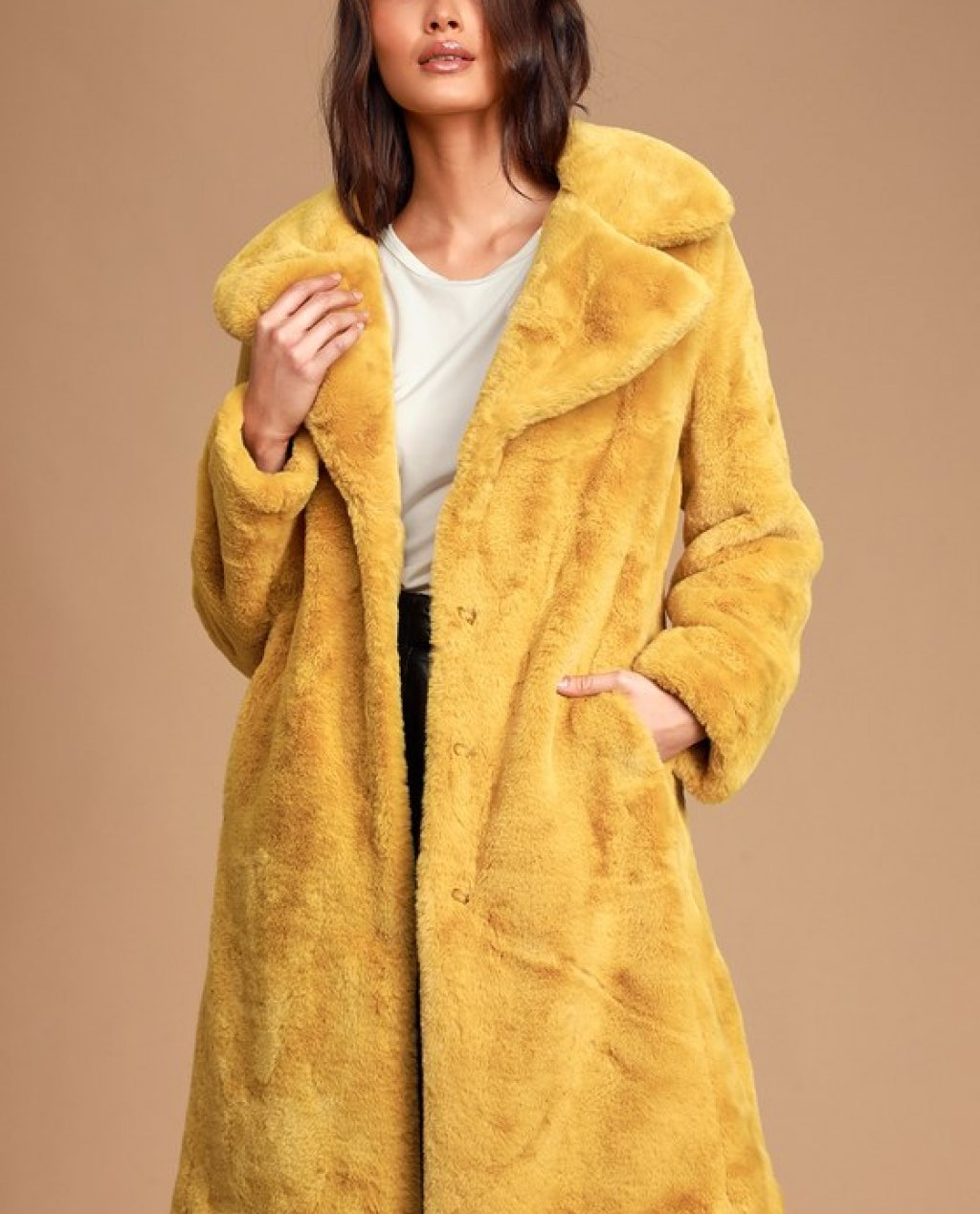 Grand Ambition Mustard Yellow Faux Fur Long Coat
