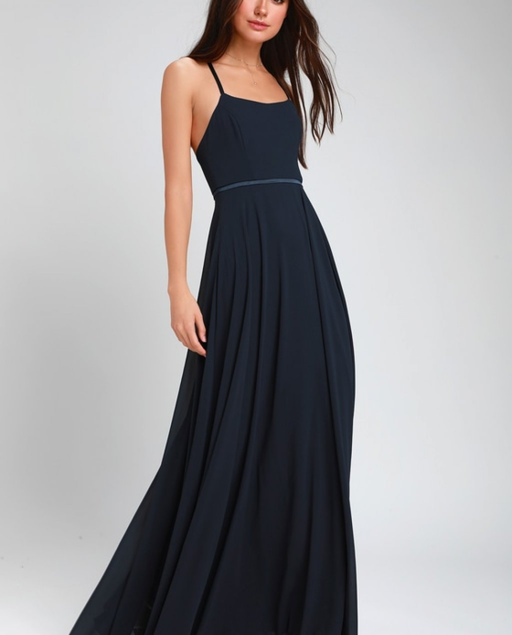 Grand Soiree Navy Blue Sleeveless Maxi Dress