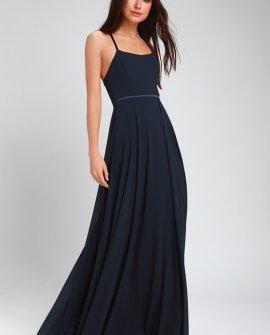 Grand Soiree Navy Blue Sleeveless Maxi Dress