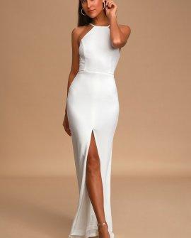 Greatest Love Story White Sleeveless Mermaid Maxi Dress