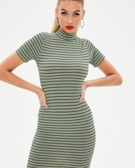 Green ribbed high neck stripe bodycon mini dress