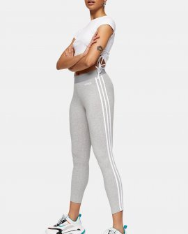 Grey Three Stripe Leggings By Adidas