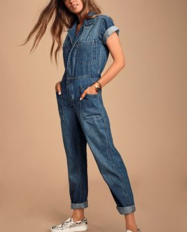 Grover Medium Wash Denim Utility Jumpsuit