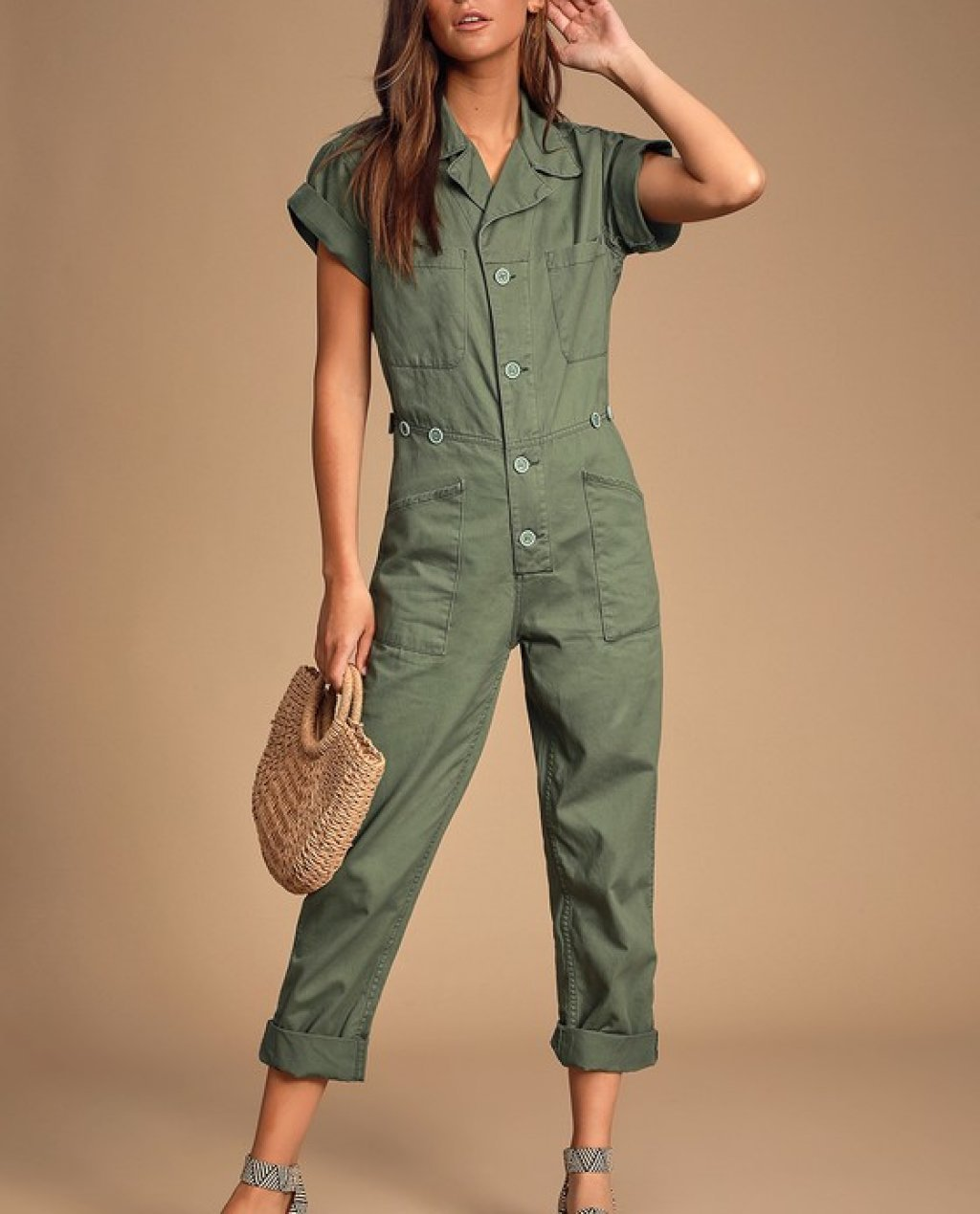 Grover Olive Green Short Sleeve Denim Jumpsuit