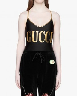 Gucci Black And Gold Swimsuit