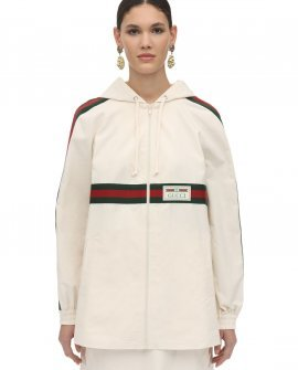 Gucci Cotton Canvas Zip Up Jacket W/Webbing