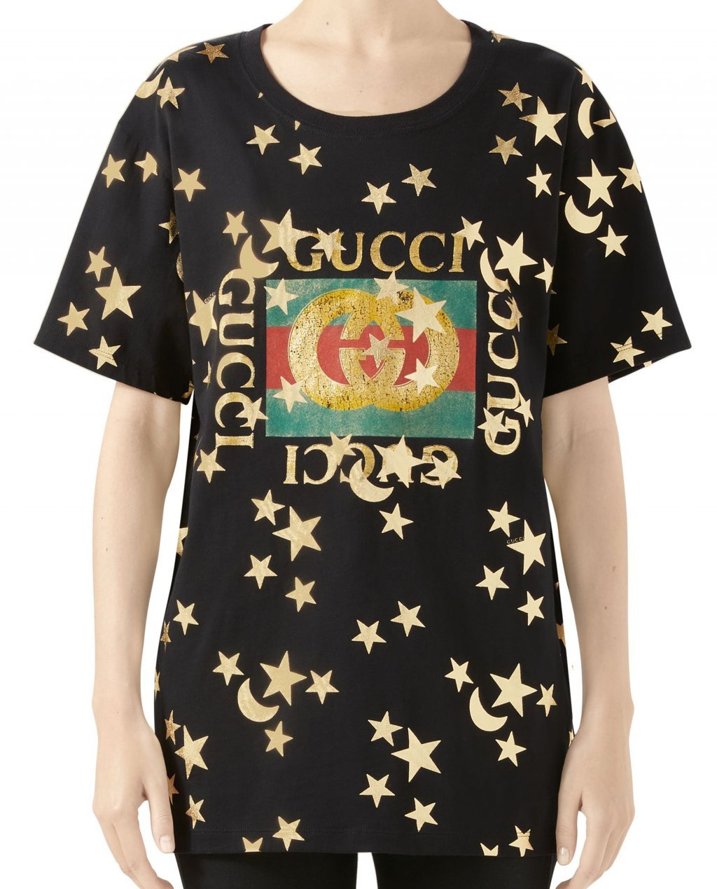 Gucci Star and Moon Logo Print Cotton Tee