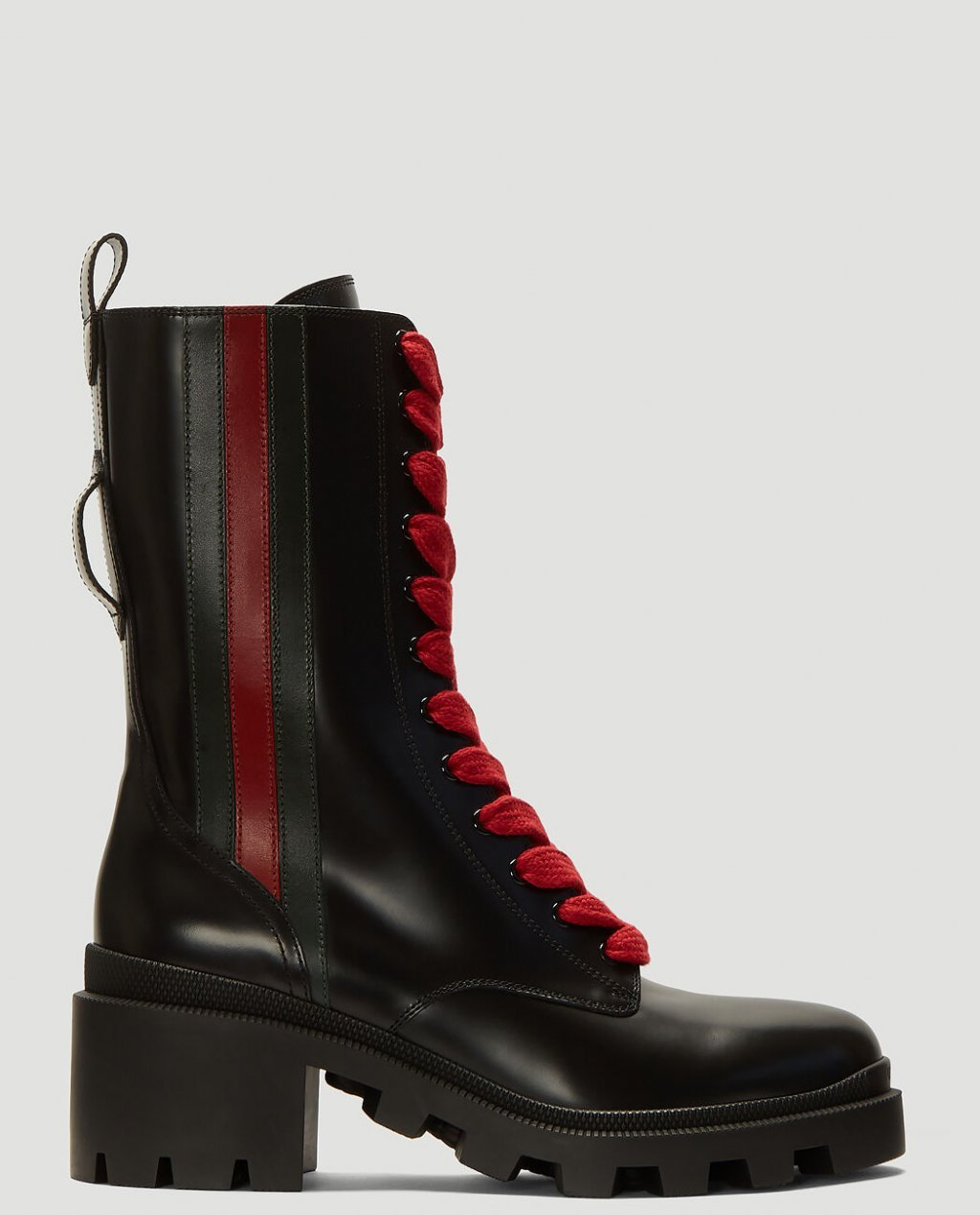 Gucci Web-Trim Leather Boots in Black
