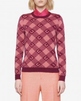 Gucci logo-intarsia checked jumper