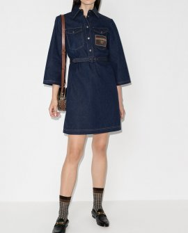 Gucci logo patch denim dress