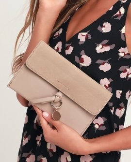 Hallie Taupe Gold Circle Charm Clutch
