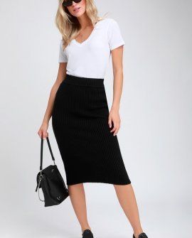 Hallis Black Ribbed Knit Midi Skirt