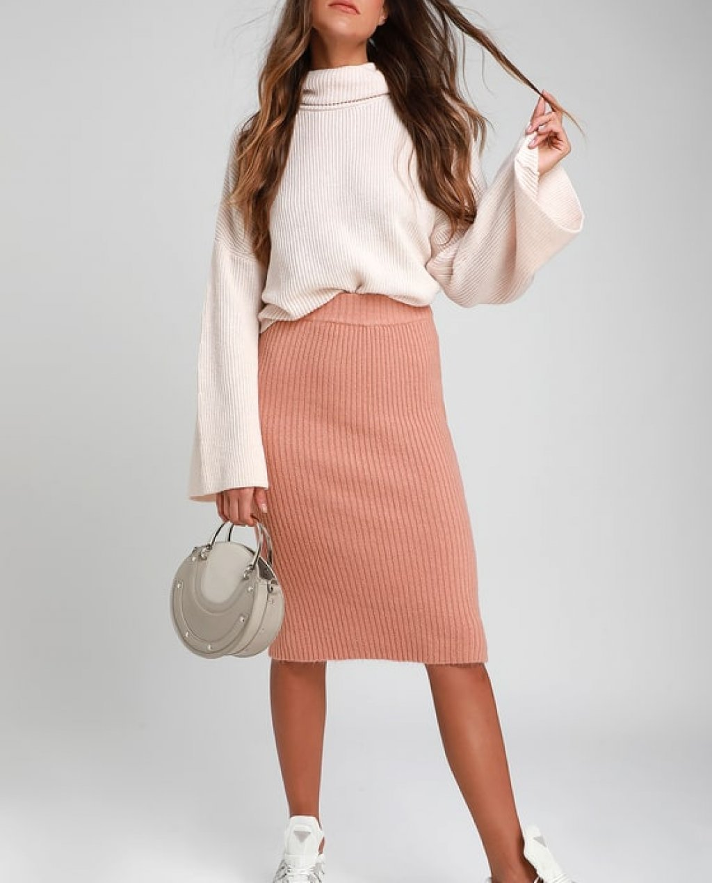 Hallis Blush Pink Ribbed Knit Midi Skirt