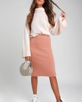 Hallis Blush Pink Ribbed Knit Midi Skirt