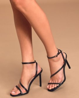 Hampton Black Strappy Ankle Strap Heels