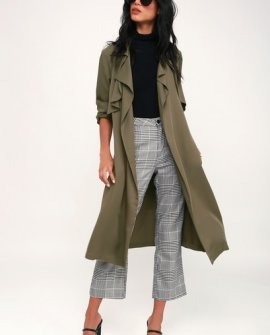 Happily Weather After Olive Green Trench Coat